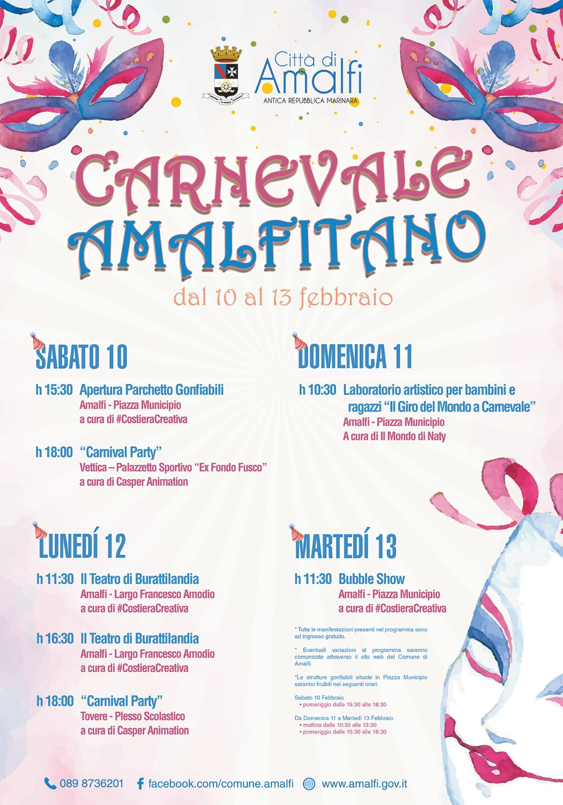 Gonfiabili gratuiti in piazza Municipio per il Carnevale Amalfitano