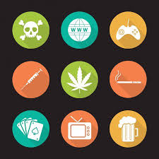 dipendenza da droga, alcol, giochi, shopping, fumo, etc.