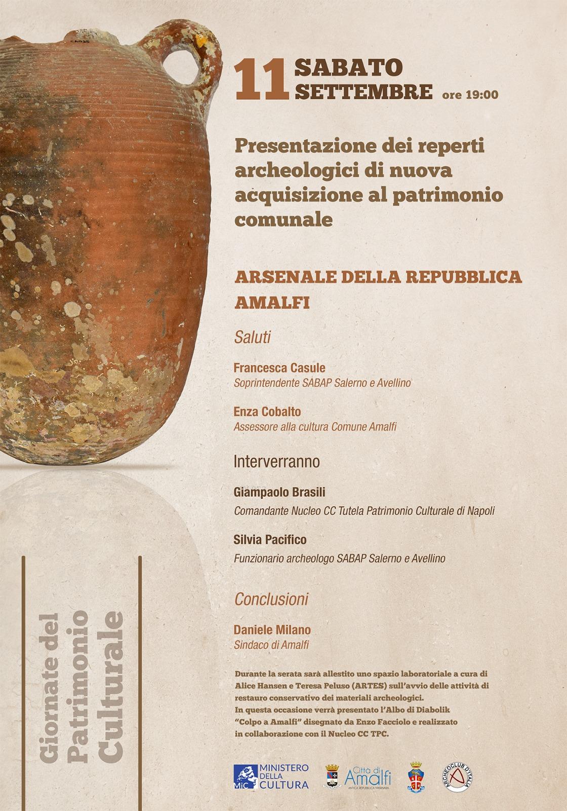Manifesto reperti archeologici Amalfi